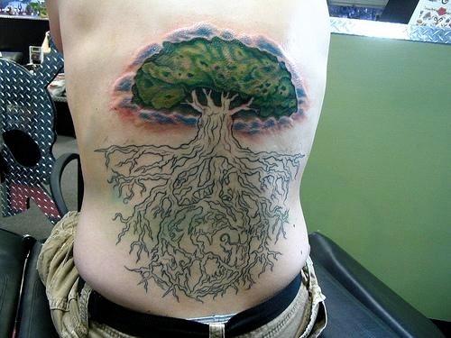 Tatuajes De árboles Algunos Con Tallo Raíces Y Ramas