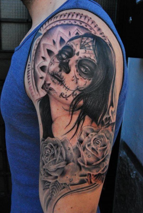 Tatuajes de la niña blanca o la Santa Muerte mexicana