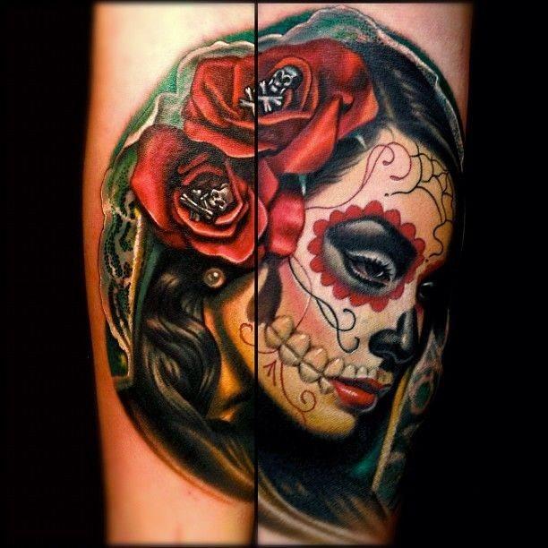 Bien-aimé Tatuajes de la niña blanca o la Santa Muerte mexicana FQ56