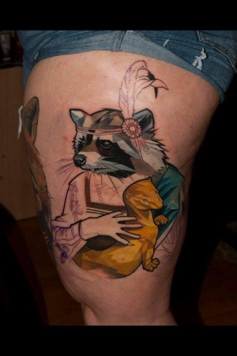 tatuaje pierna muslo 625