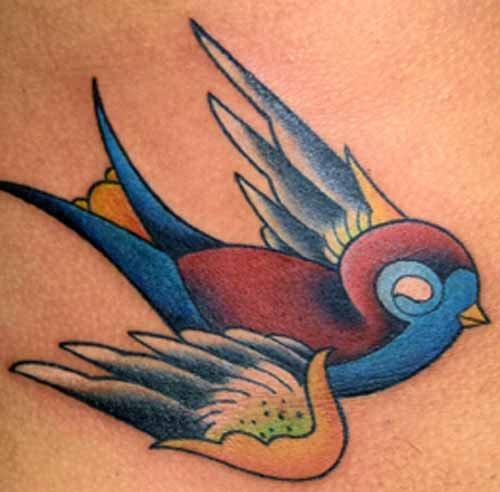 Realistic sparrow tattoo