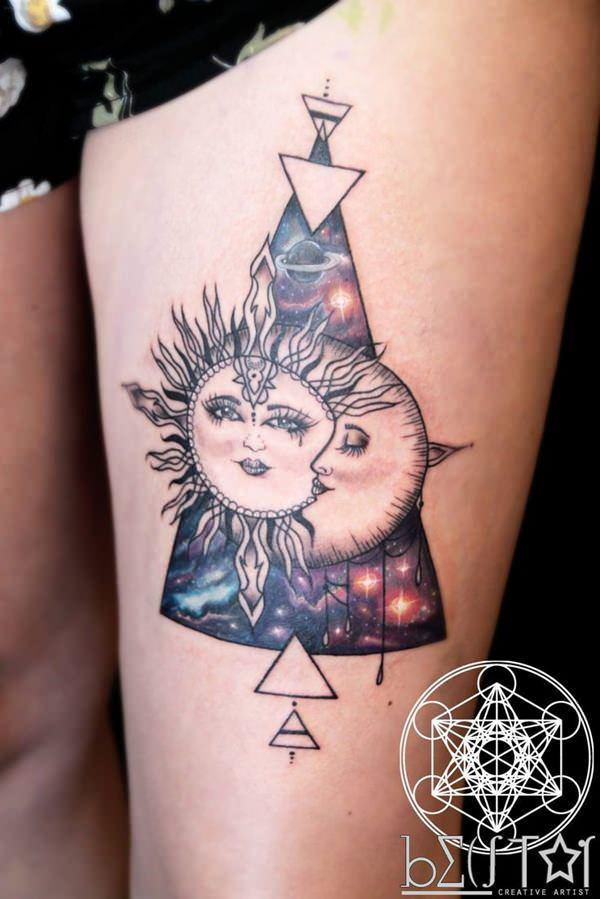 98 Tatuajes Y Motivos Con Una Luna Y Un Sol