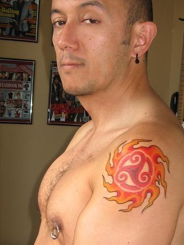 1074 fire flames tattoo