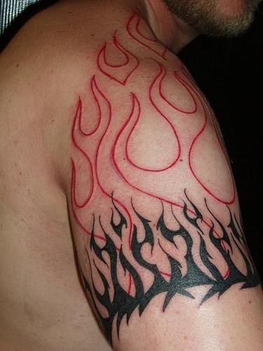 1082 fire flames tattoo