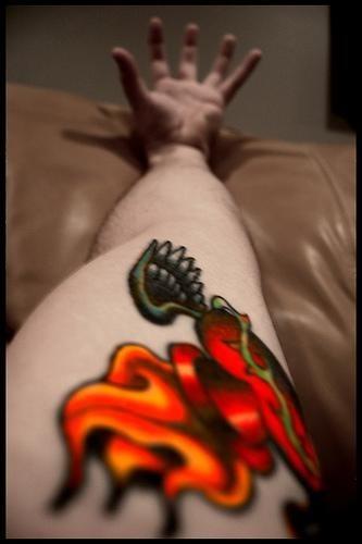 1027 fire flame tattoo
